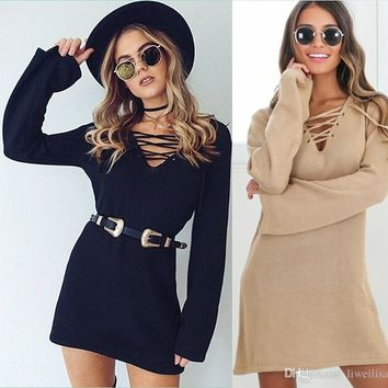 Plus Size S~XL Fashion Knitted Bottoming Flare Long Sleeve Hollow Out Cross Bandage Sexy Women Autumn And Winter Sweater dress