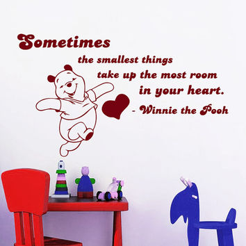 Winnie The Pooh Wall Decals Quote Sometimes The Smallest Things Interior Design Vinyl Decal Sticker Art Baby Kids Nursery Room Decor MR342