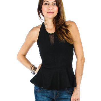 BLACK LIVERPOOL PEPLUM HALTER TOP T1454 - Small