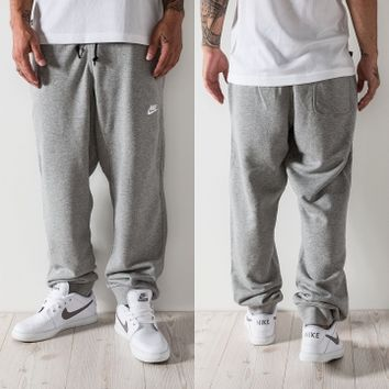 Nike AW77 French Terry Cuff Sweat Pants Dark Grey Heather/White von Def-Shop.com