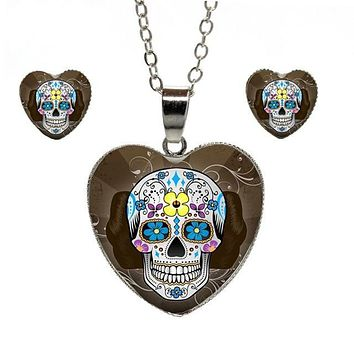 Mexican Sugar Skull Heart Necklace Earring Set