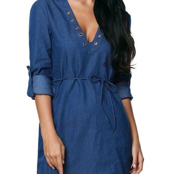 Streetstyle  Casual Solid Denim Roll-Up Sleeve Lace-Up Deep V-Neck Bodycon Dress