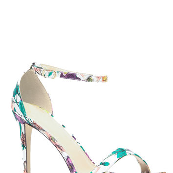 White Floral Print Single Sole Ankle Strap Heels