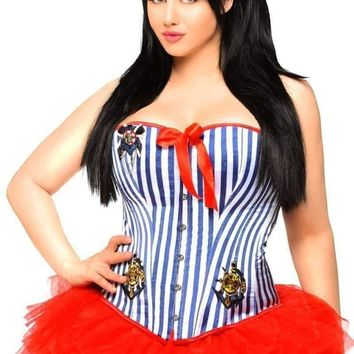 Daisy Corset 3 PC Retro Pin-Up Sailor Costume with Skirt