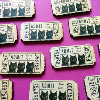 CAT PARTY admit one cat black kitty ticket wooden lasercut printed brooch pin