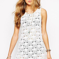 White Cut-outs Mesh Sleeveless Dress