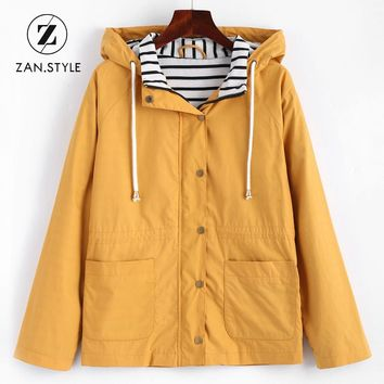 Trendy Winter Jacket ZAN.STYLE Winter Warm Women Snap Button Stripes Panel Hooded  Coat Pocket Patched Drawstring Basic Outwear  Yellow AT_92_12