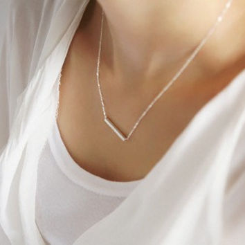 simple style silvery  titanium steel pendant necklace women collarbone necklace short necklace  XL110