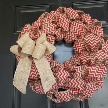 "18"" Brick Red Chevron Burlap Wreath, door decoraion, wall decor,  4th of July, Memorial Day, Christmas"
