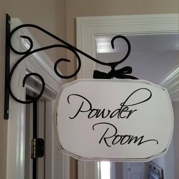 Custom Wood Sign/Plaque With or Without Metal Bracket - Powder Room, Office, Laundry and More