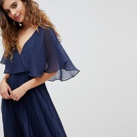 ASOS DESIGN Midi Dress With Pleat Skirt And Flutter Sleeve at asos.com