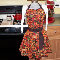 "Twirly Skirt Full Apron, 50s style Circle Skirt Apron~ ""AUTUMN SUNFLOWERS"" Thanksgiving Apron, Autumn Apron, Fall Apron"