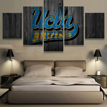 UCLA Bruins NCAA Football 5 Panel Canvas Wall Art Home Decor