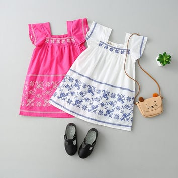 Toddler Girls Bohemian Summer Dress Kids Baby Flower Floral Clothes Princess O-Neck Children Sleeveless Clothing 6pcs/LOT