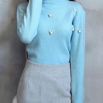 Womens Pullover Sweater - Mock Turtleneck / Pale Blue