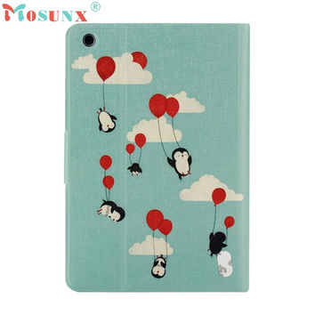 Del Penguin Painted Stand Leather Case Cover for ipad mini 1/2/3 Retina Mar14