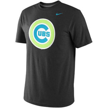 Nike Chicago Cubs MLB Tri-Blend Logo T-Shirt - Black