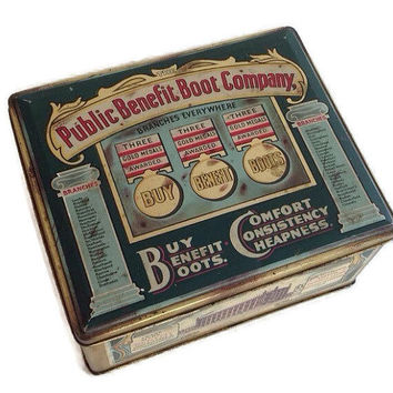 Vintage 1930's English Tin Box Public Benefit Boot Company Made in England Vintage Advertising Candy Cookie Biscuit Tin Kitchen Decor