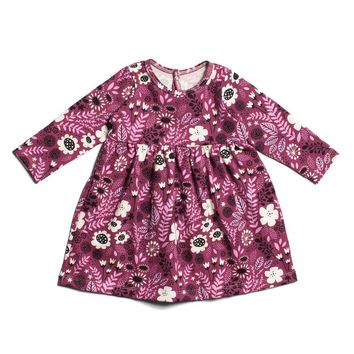 Purple Vintage Flowers Baby Dress