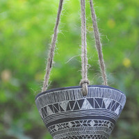 Geometric Tribal Design Black and White Carved Hanging Planter // Succulent Planter