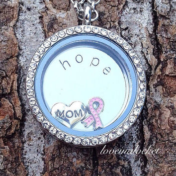 Mom Pink Ribbon Floating Locket, Handstamped Hope Necklace, Breast Cancer Locket, Mom Living Locket, Hope Floating Locket, Mom Birthday Gift