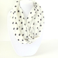 Polka Dots Scarf, Black & White Scarf, Spring Scarf, Summer Infinity Scarf