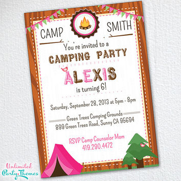 Camping Invitations - Boy Scout Invitations Girl Scout Invitations - Camping Party