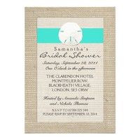 Turquoise Burlap Sand Dollar Beach Bridal Shower Custom Announcements
