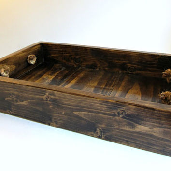 Dark Stained Rustic Wooden Tray with Rope Handles, Handcrafted Small Serving or Decorative Centerpiece Tray