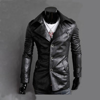 Locomotive PU Jacket Men Brand Clothing Men's Leather Outwear Retro Veste Homme Coat Chaqueta England Fashion Slim Jacket XXL
