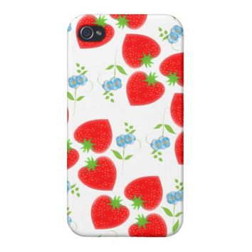 Strawberries and flowers Cute Ditsy Design