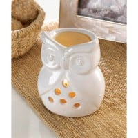 White Ceramic Owl Tealight Candle Oil Warmer