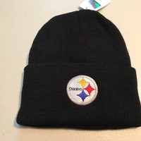 PITTSBURGH STEELERS WINTER KNIT BLACK CUFF KNIT HAT  SHIPPING