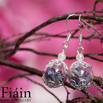 Silver Lavender and hand blown glass earrings, A Perfect Christmas Gift for a Special Friend