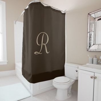 Brown and Tan Monogrammed Shower Curtain