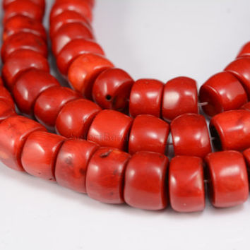 red coral beads, big heishi beads,red beads,chunky red coral,thick spacer beads