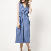 Blue Dress Summer Dress Midi Dress V Neckline Dress Sun Dress