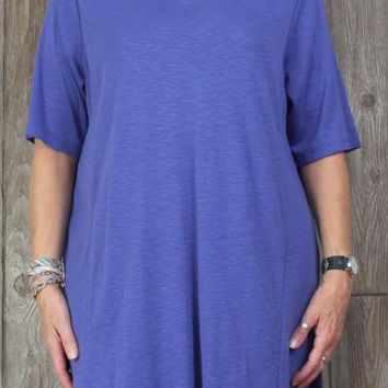 Nice New J Jill Elbow Sleeve Tunic Top 2x size Blue Vneck Blouse Womens Plus