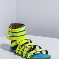Up Scale Strappy Mixed Media Sandals