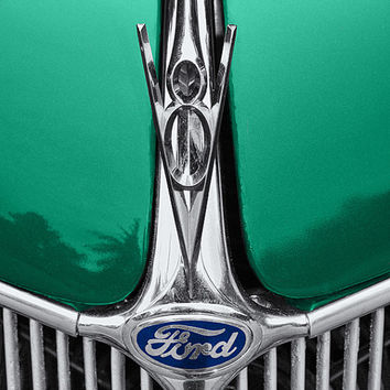 Photo, old Ford car, vintage, classic, restored hotrod, hot rod, green with blue badge, heavy chrome grill, V8 hood ornament, fine art print