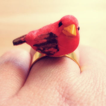 Handmade Tiny Cardinal Bird Adjustable Ring