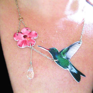 Bird Necklace The Hummingbird and the Flower Crystal Water Drop