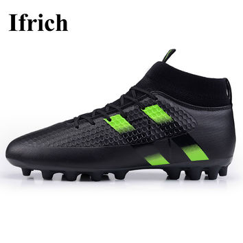 Ifrich 2017 New Football Boots High Ankle Soccer Cleats Black Green Sock Boots Football Trainers Brand Soccer Boots Spikes Men