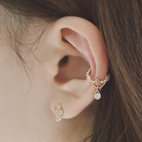 Rhinestone Drop Ear Cuff