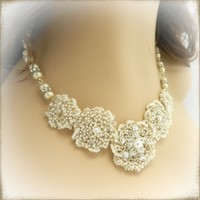 Elegant Wire Crochet Bridal Necklace