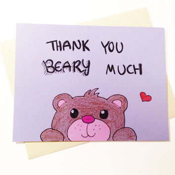 Cute thank you card, thank you notes, Thank you beary much, hand drawn, original art, wedding thankyou, bridesmaid thank you