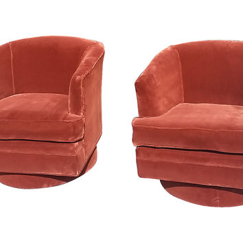 Milo Baughman Swivel Chairs, Pair