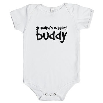 grandpa's napping buddy baby one piece t-shirt