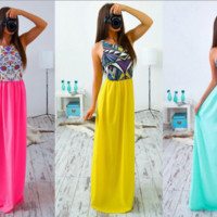 Color Print Round Neck Chiffon  Maxi Dress B0014899