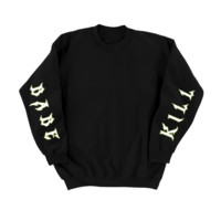 Oversized KILL BABE Sweater with Reflective Sleeve